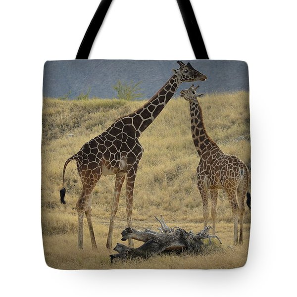 Desert Palm Giraffe Tote Bag by Guy Hoffman