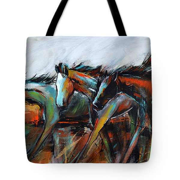 Tote Bag featuring the painting Desert Racers by Cher Devereaux