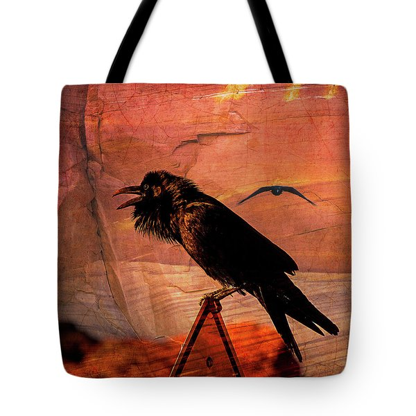 Tote Bag featuring the photograph Desert Raven by Mary Hone
