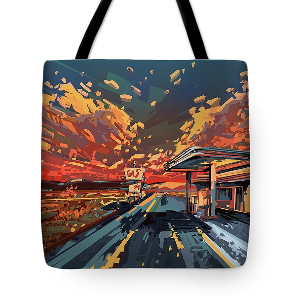 Desert Road Landscape 2 Tote Bag by Bekim Art