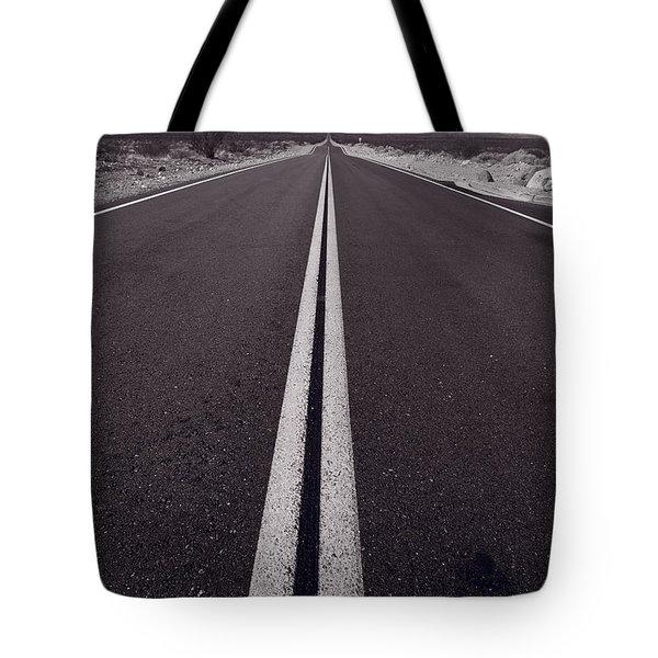Desert Road Trip B W Tote Bag by Steve Gadomski