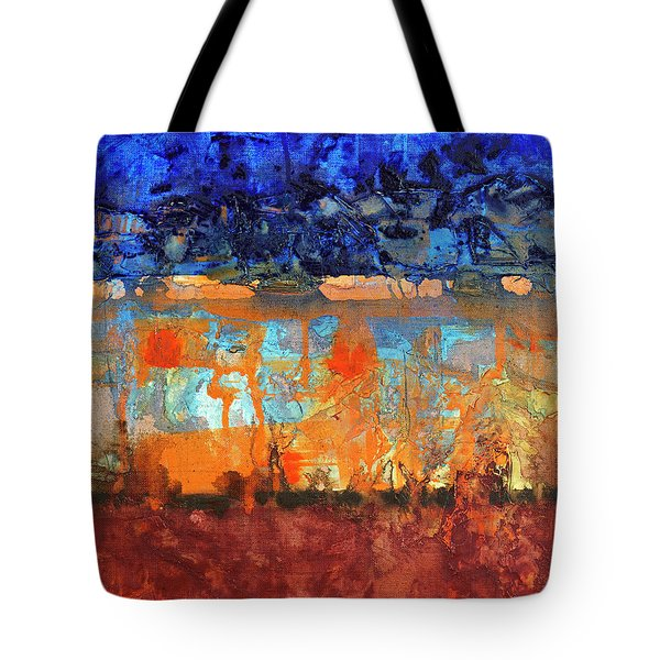 Tote Bag featuring the painting Desert Strata by Walter Fahmy