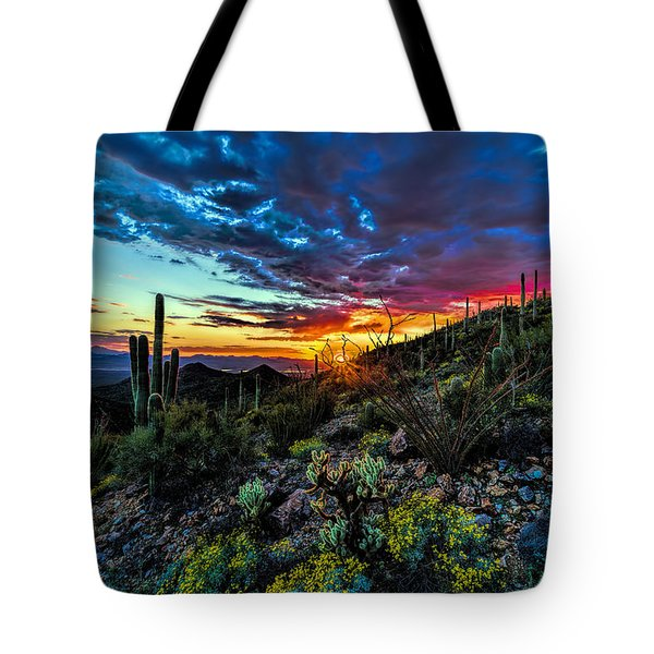Desert Sunset Hdr 01 Tote Bag