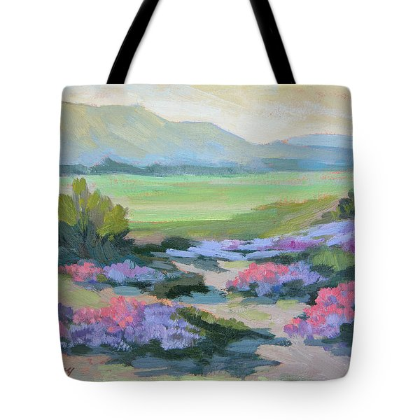 Tote Bag featuring the painting Desert Verbena 1 by Diane McClary