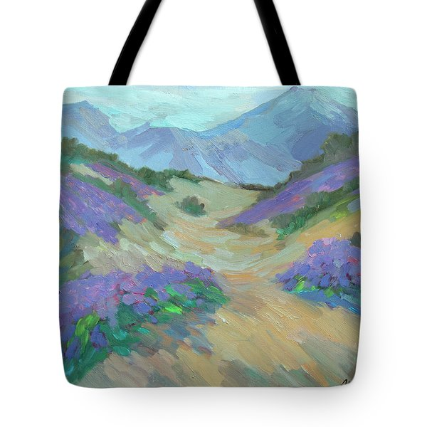 Tote Bag featuring the painting Desert Verbena by Diane McClary