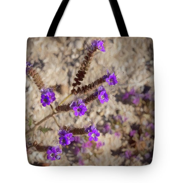 Tote Bag featuring the photograph Desert Zig Zag Purple Flower by Penny Lisowski