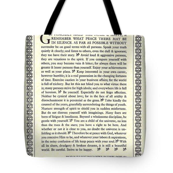 Desiderata 16 Tote Bag