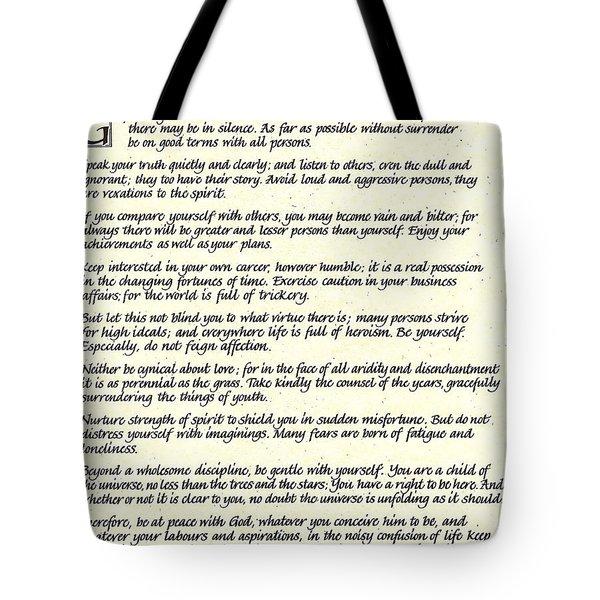 Desiderata 17 Tote Bag