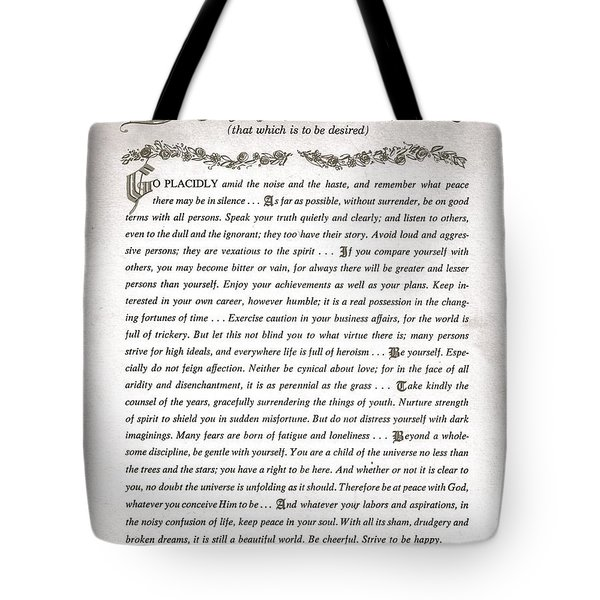 Desiderata 3 Tote Bag by Desiderata Gallery
