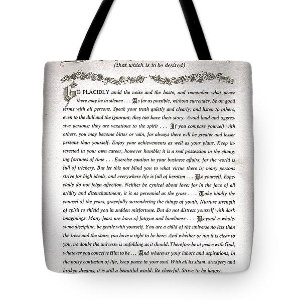 Desiderata 3 Tote Bag by Desiderata Gallery