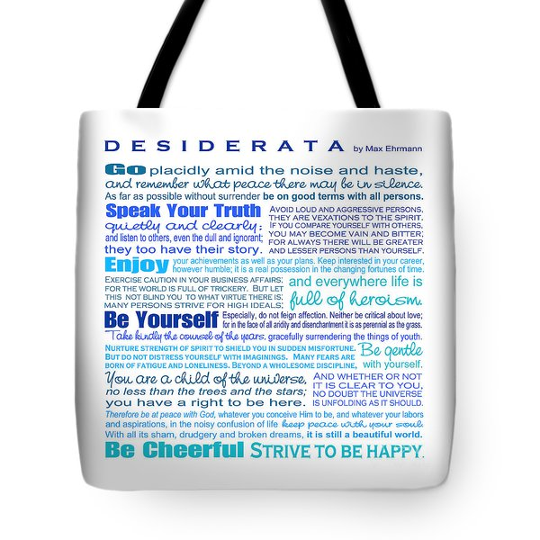 Desiderata - Blues - Square Format Tote Bag by Ginny Gaura