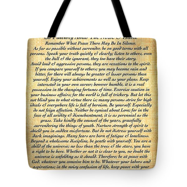 Desiderata By Max Ehrmann On Fossil Paper Tote Bag