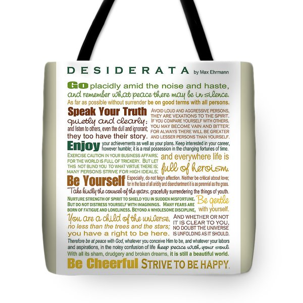 Tote Bag featuring the digital art Desiderata - Earthtones - Rectagular Format by Ginny Gaura