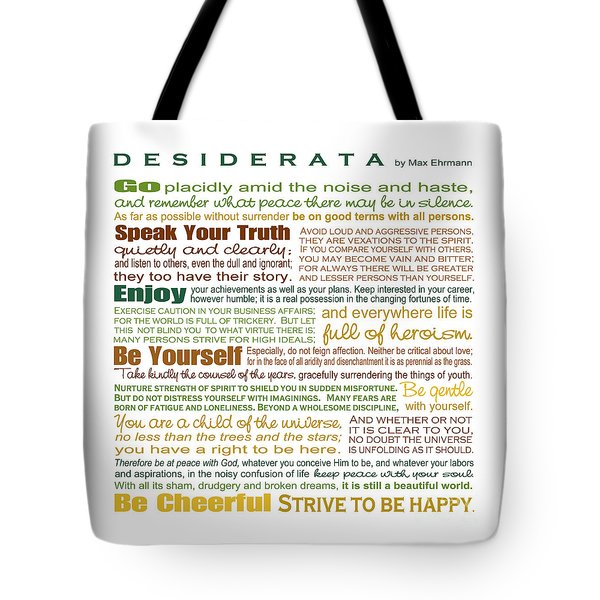 Tote Bag featuring the digital art Desiderata - Earthtones - Square Format by Ginny Gaura