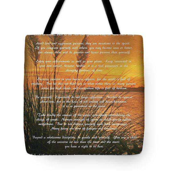 Desiderata - Go Placidly Tote Bag