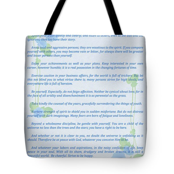 Desiderata In Blue Tote Bag