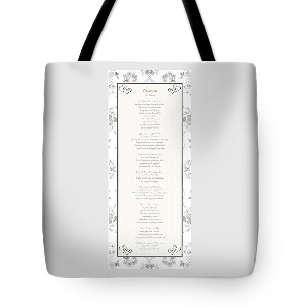 Desiderata In Silver Script By Max Ehrmann Tote Bag