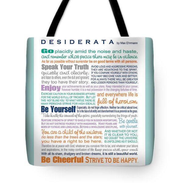 Tote Bag featuring the digital art Desiderata - Multi-color - Rectangular Format by Ginny Gaura