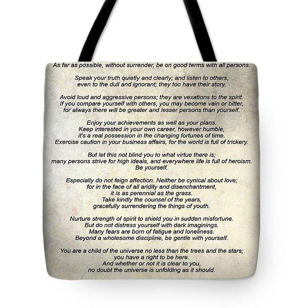 Desiderata - Paper Tote Bag