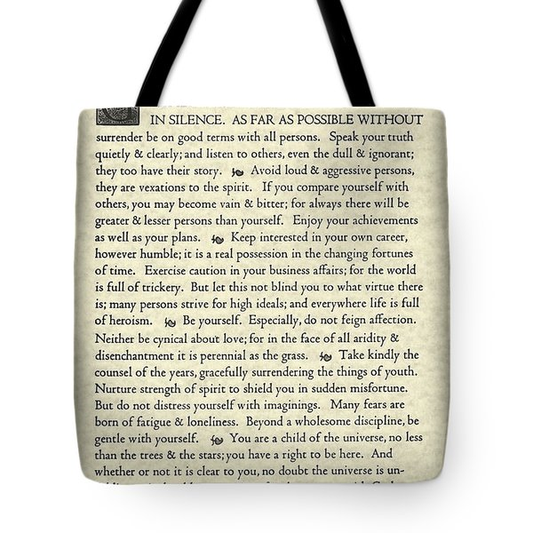 Desiderata Poem On Parchment Tote Bag