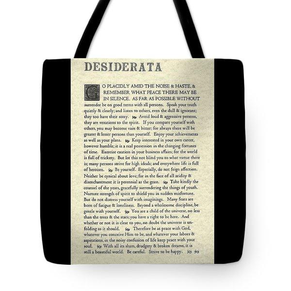 Desiderata Poem On Parchment Tote Bag
