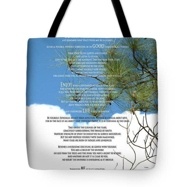Desiderata Poem Over Sky With Clouds And Tree Branches Tote Bag