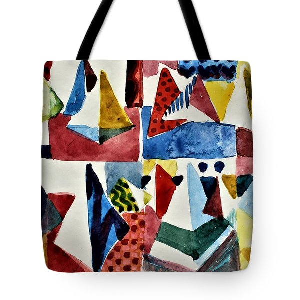 Tote Bag featuring the painting Designs For Pyramids by Mindy Newman