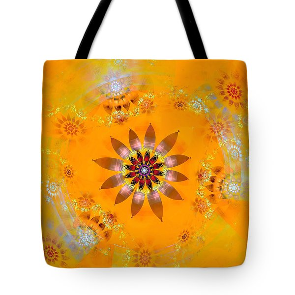 Tote Bag featuring the digital art Designs On Gold by Richard Ortolano