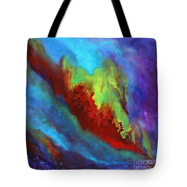Desire A Vibrant Colorful Abstract Painting With A Glittering Center  Tote Bag
