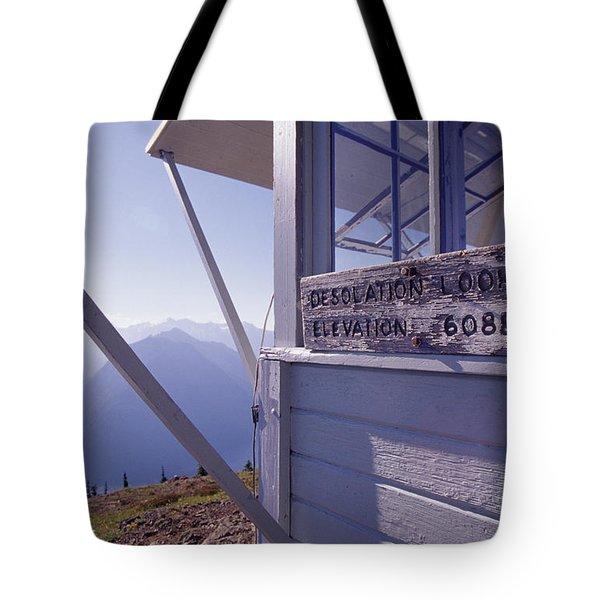 Desolation Peak Fire Lookout Cabin Sign Tote Bag