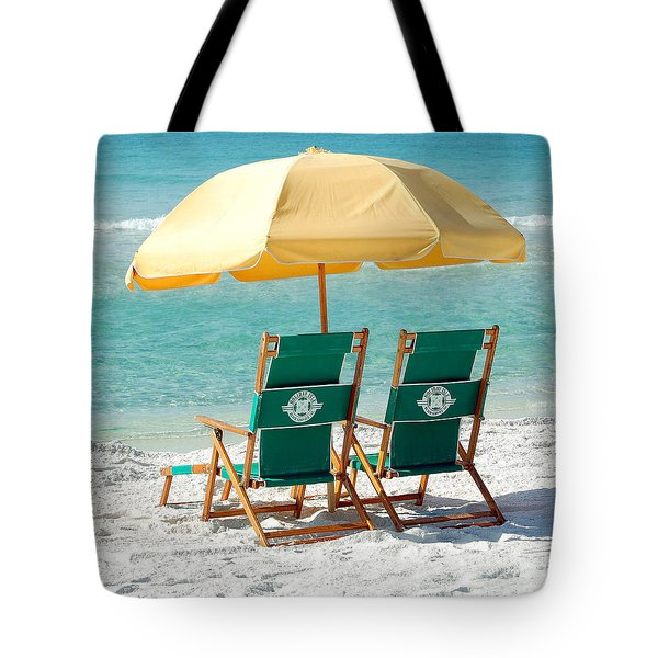 Destin Florida Beach Chairs And Yellow Umbrella Square Format Tote Bag