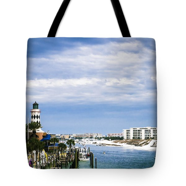 Destin Harbor  Tote Bag by Debra Forand