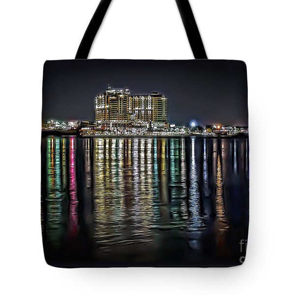 Destin Night Across The Estuary Tote Bag