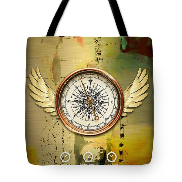 Tote Bag featuring the mixed media Destination by Marvin Blaine