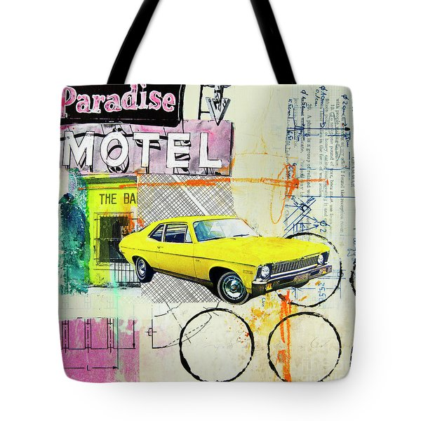 Tote Bag featuring the mixed media Destination Paradise by Elena Nosyreva
