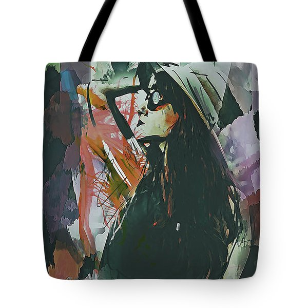 Tote Bag featuring the digital art Destinations Abstract Portrait by Galen Valle