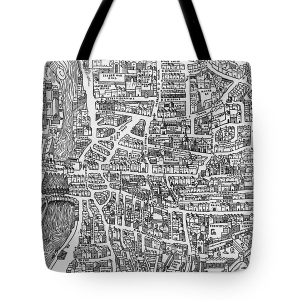 Detail From A Map Of Paris In The Reign Of Henri II Showing The Quartier Des Ecoles Tote Bag by French School