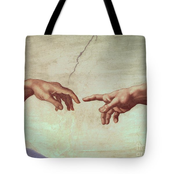 Detail From The Creation Of Adam Tote Bag