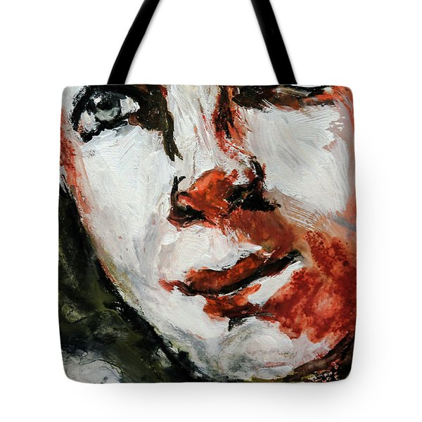 Tote Bag featuring the painting Detail If Acrylic Portrait by Jim Vance