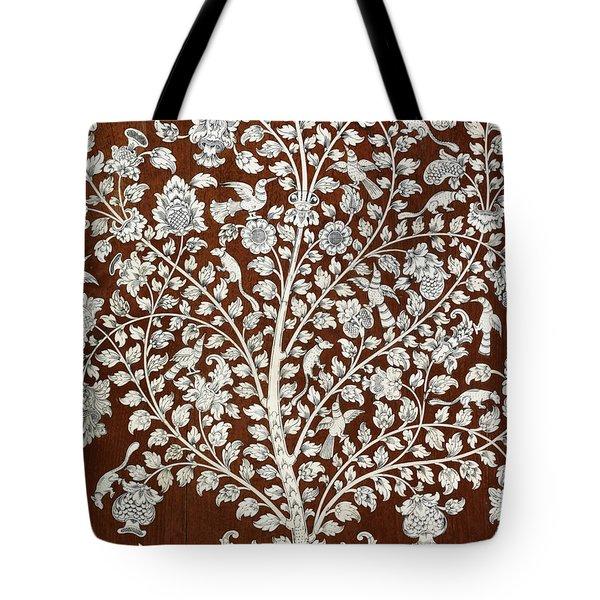 Detail Of A Vintage Botanical Pattern Tote Bag