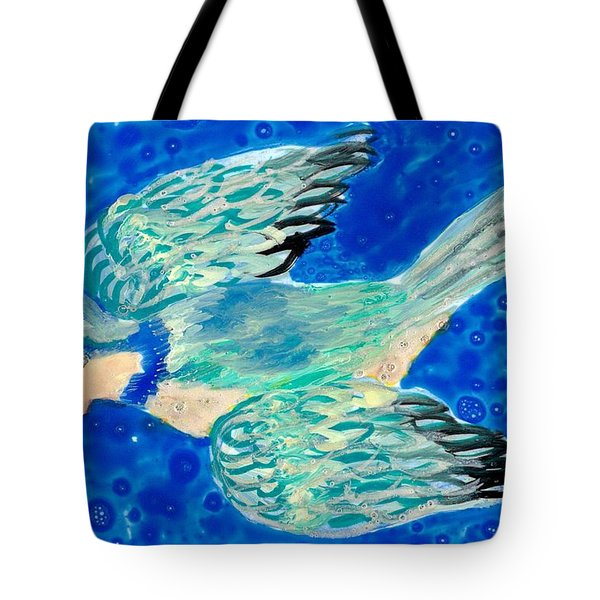 Detail Of Bird People Flying Bluetit Or Chickadee Tote Bag by Sushila Burgess