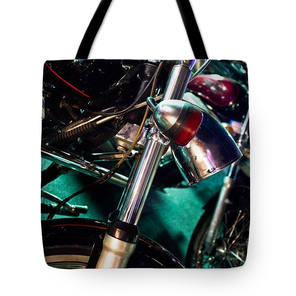 Detail Of Chrome Headlamp On Vintage Style Motorcycle Tote Bag by Jason Rosette
