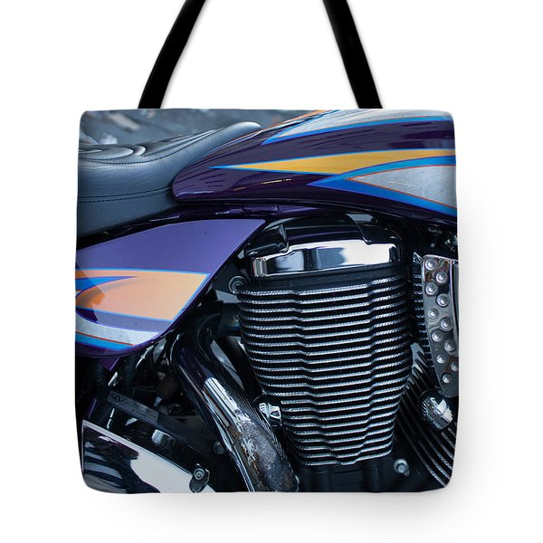 Detail Of Shiny Chrome Cylinder And Engine On Cruiser Motorcycle Tote Bag by Jason Rosette