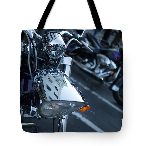 Detail Of Shiny Chrome Headlight On Cruiser Style Motorcycle Tote Bag by Jason Rosette