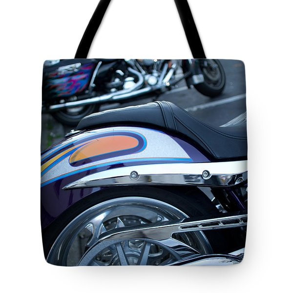 Detail Of Shiny Chrome Tailpipe And Rear Wheel Of Cruiser Style  Tote Bag