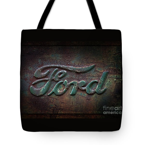Detail Old Rusty Ford Pickup Truck Emblem Tote Bag