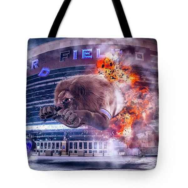Tote Bag featuring the photograph Detroit Lions At Ford Field 2 by Nicholas Grunas