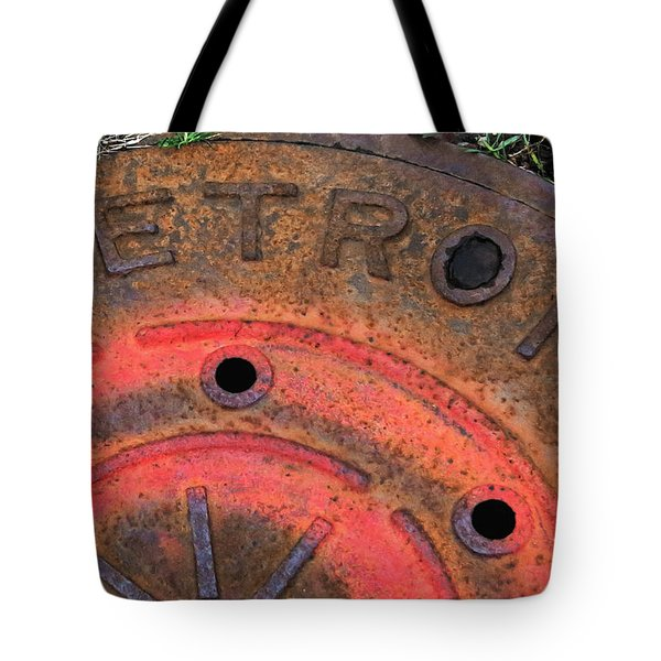 Detroit Manhole Cover Spray Painter Red Tote Bag by Sandra Church