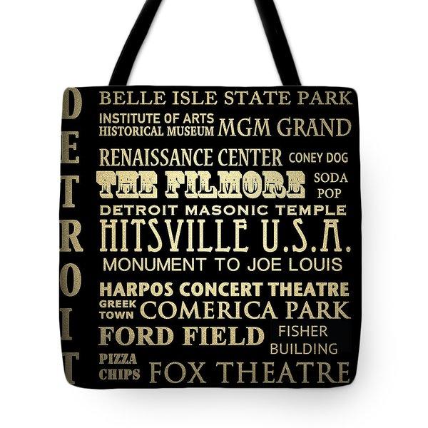 Detroit Michigan Famous Landmarks Tote Bag