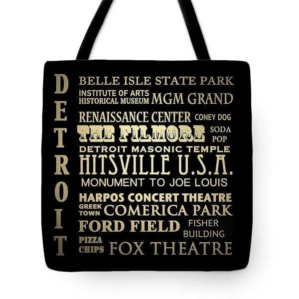 Detroit Michigan Famous Landmarks Tote Bag
